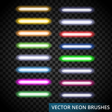 Set of color laser brushes you can creat neon line for your desing, include brushes in artwork background. Illustration