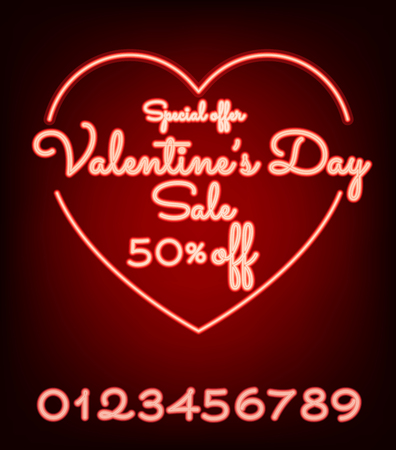 Valentines day sale neon light web banner of valentine sale promotion. Illustration