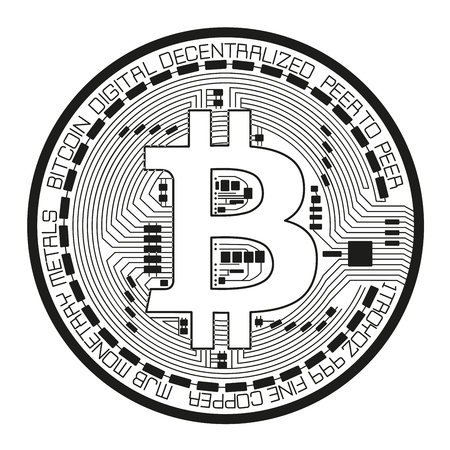 Crypto currency black coin with black lackered bitcoin symbol on obverse isolated on white background. Vector illustration Illustration