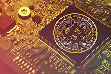 Bitcoin concept - Printed circuit board with bitcoin processor and microchips illustration