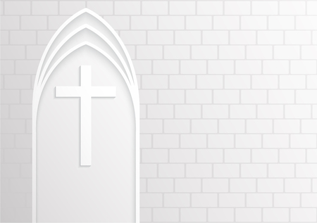 Good Friday, White cross on white brick background ,Vector illustration.