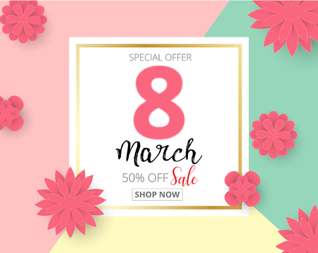International Happy Womens Day 8 March holiday background with paper cut Frame Flowers. Trendy Design Template. Vector illustration.