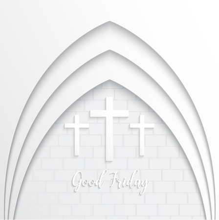 Illustration of Cross for Good Friday on white brick background.