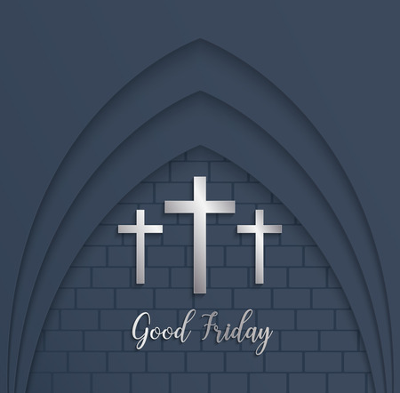 Illustration of Cross for Good Friday on brick background.vector Illustration