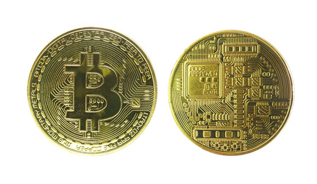Isolated Physical Bitcoin front and back isolated with clipping path include