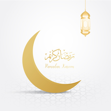 ramadan backgrounds crescent moon vector  with Arabic pattern gold background