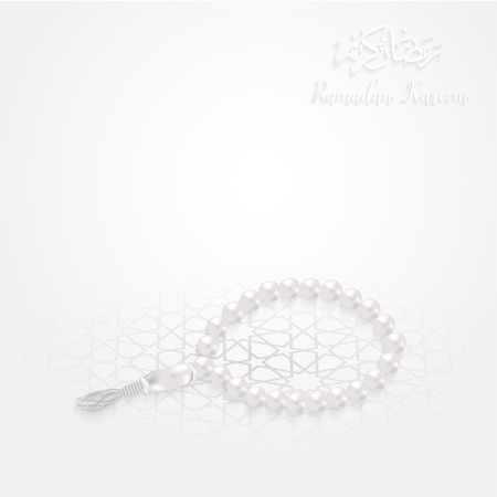 Ramadan Kareem greeting background islamic vector illustration pearl prayer bead white background Illustration