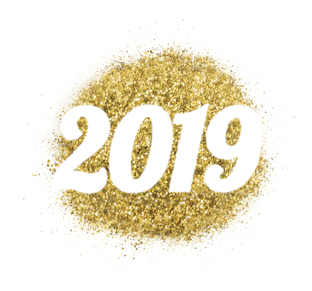2019 Of Gold Glitter On White Background Symbol Of New Year Stock