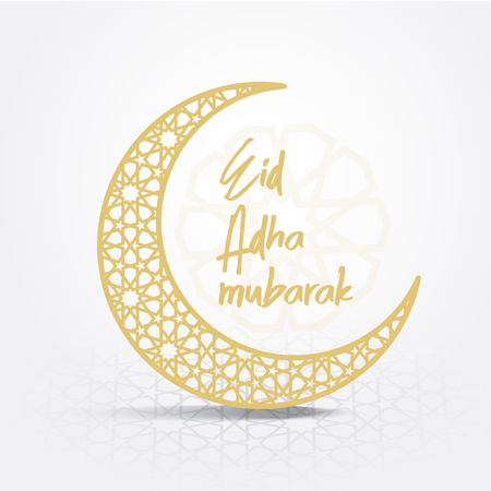 Eid-Al-Adha Mubarak backgrounds crescent moon vector with Arabic pattern white background