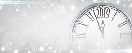 Vector 2019 Happy New Year with retro clock on gray snowflakes background, for your copy space.