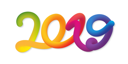 Happy New Year 2019 card with colorful neon figures on the white background