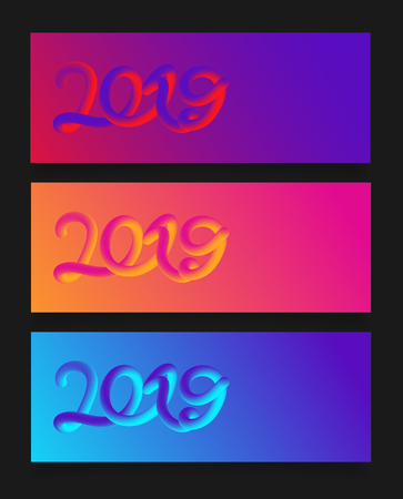 Happy New Year 2019 card with colorful neon figures,Banner with copyspace.