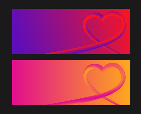 Heart colorful neon figures,Valentines day greeting Banner with copyspace. Ilustrace