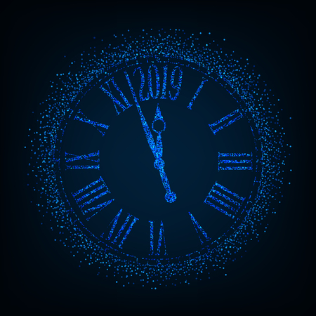 2019 New Year card with classic clock on blue background with copy space,illustration EPS10. Ilustrace