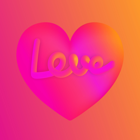 Love lettering on pink heart colorful neon figures,Valentines day greeting Banner Ilustrace