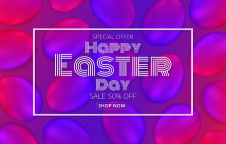 vector illustration happy easter day promotion banner,Easter neon eggs background Design element.
