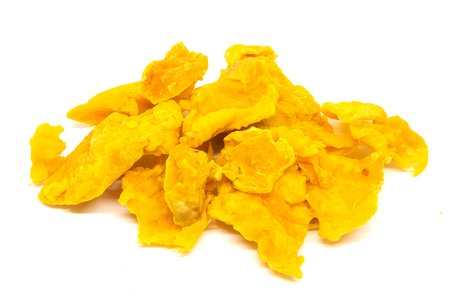 Dried dehydrated Durian fruit on a white background.