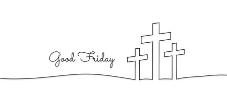 concept of the crucifixion in the form of 3 crosses goodfriday holiday,Continuous line drawing. Ilustrace