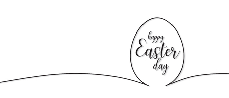 Continuous line drawing of easter egg, Black and white easter day banner,illustration EPS10.