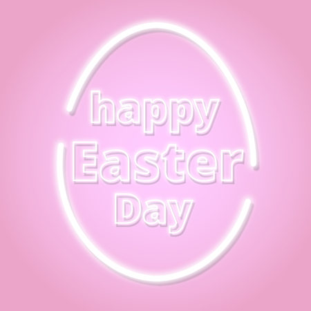 lettering card for Easter Day. Vector neon sign. Abstract background with bright pink vector neon egg.