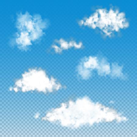 Set of transparent  fluffy clouds. Vector illustration EPS 10 Ilustrace