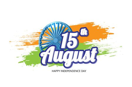 Happy Indian Independence Day celebration on flag brush color greeting background