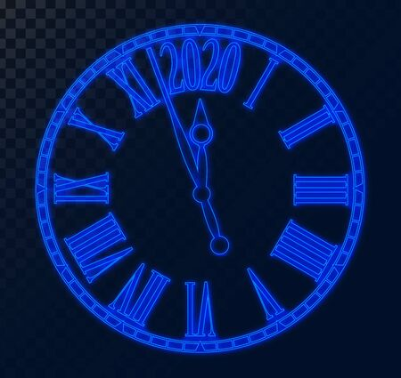 2020 New Year card blue neon futuristic clock transparent background with copy space,illustration