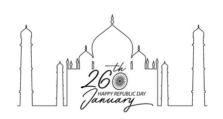 Happy Indian Happy Republic Day celebration  on  tajmahal outline background