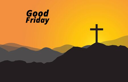 Good friday Christian cross silhouette on the hill sunset sky background, vector.