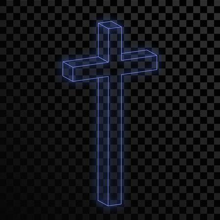 Blue neon glowing Christian Cross on transparent background. Vector illustration. Glowing bright blue Church Cross Ilustração