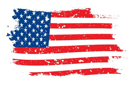 grunge flag of USA on the white background vector illustration