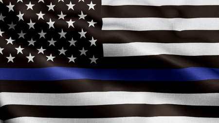 An American flag symbolic of support for law enforcement,usa flag 3d rendering Stock Photo