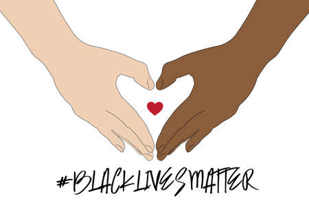 Hand symbol for black lives matter protest in USA to stop violence to black people. Fight for human right of Black People in U.S. America. doodle art style vecter Illustration