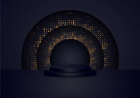 3d black cylinder podium minimal studio halftone background. Abstract 3d geometric shape object illustration render Display Illustration