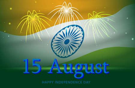 Happy Indian 15 August Independence Day celebration card on  flag color firework greeting background,illustration . Illustration