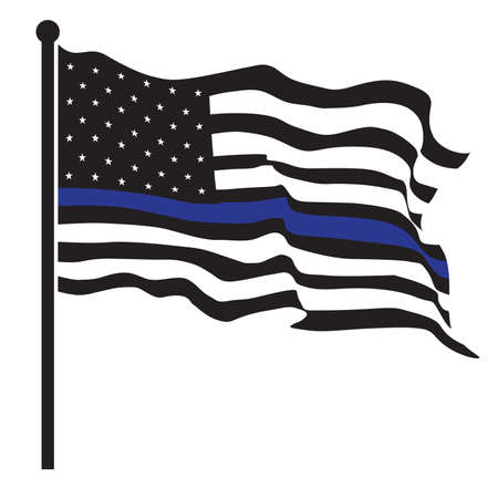 An American flag symbolic of support for law enforcement,usa flag vector.illustration EPS10. Stock Photo