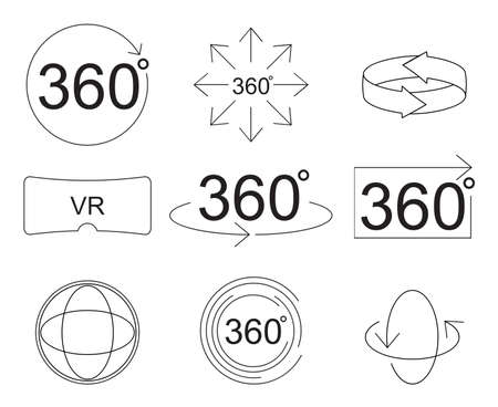 Set of 360 Degree View Related Vector Icons thin line style for Your Design.illustration