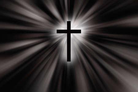 Religioush cross with sun rays  shine on the dark  background illustration