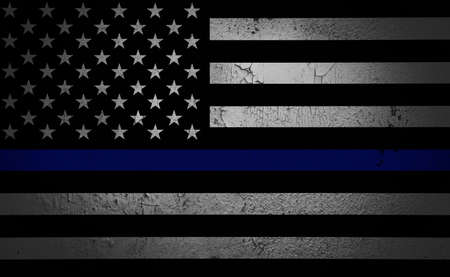 An American flag symbolic of support for law enforcement,illustration.