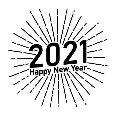 2021 Happy New Year text typography hipster sun starburst circle retro vintage design,illustration Stock Photo