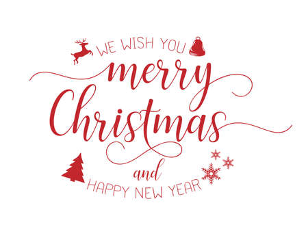merry christmas red hand lettering inscription to winter holiday design, calligraphy vector illustration EPS10.