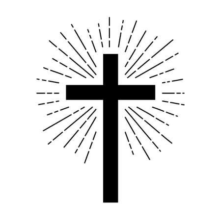 Christian cross sign hipster sun starburst circle retro vintage design,illustration EPS10.