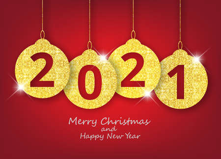 Merry Christmas and happy new year hanging 2021 number gold glitter christmas decoration balls on shiny red background. Illustration