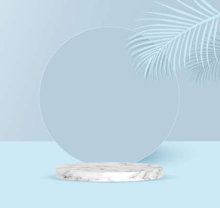 podium backdrop with empty cube box with tropical leaf for cosmetic product display. fashion beauty  blue background with marble stone texture,illustration