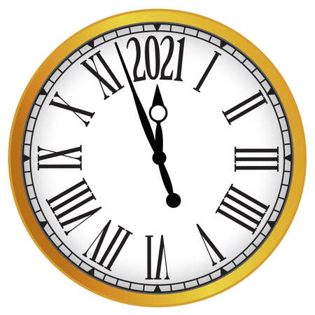 2021 New Year gold classic clock on white background. Vector paper illustration. Foto de archivo
