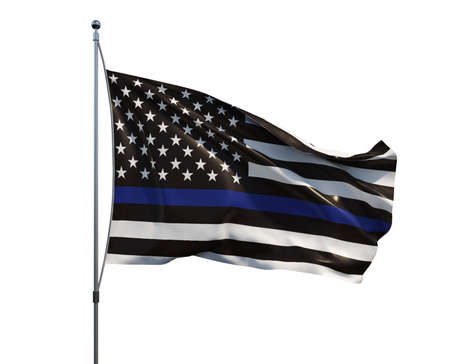 An American flag symbolic of support for law enforcement,usa flag 3d rendering Foto de archivo