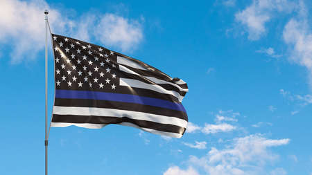 An American flag symbolic of support for law enforcement,usa flag 3d rendering on the blue sky Foto de archivo