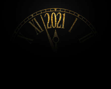 2021 New Year card gold glitter classic clock on black background with copy space,illustration