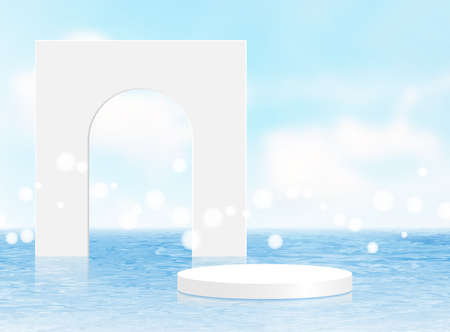 Background vector 3d blue rendering with white podium and minimal summer scene with water sea, minimal abstract background 3d rendering