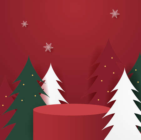 Abstract minimal mock up scene. geometry podium shape for show cosmetic product display. stage pedestal or platform. winter christmas red background Foto de archivo